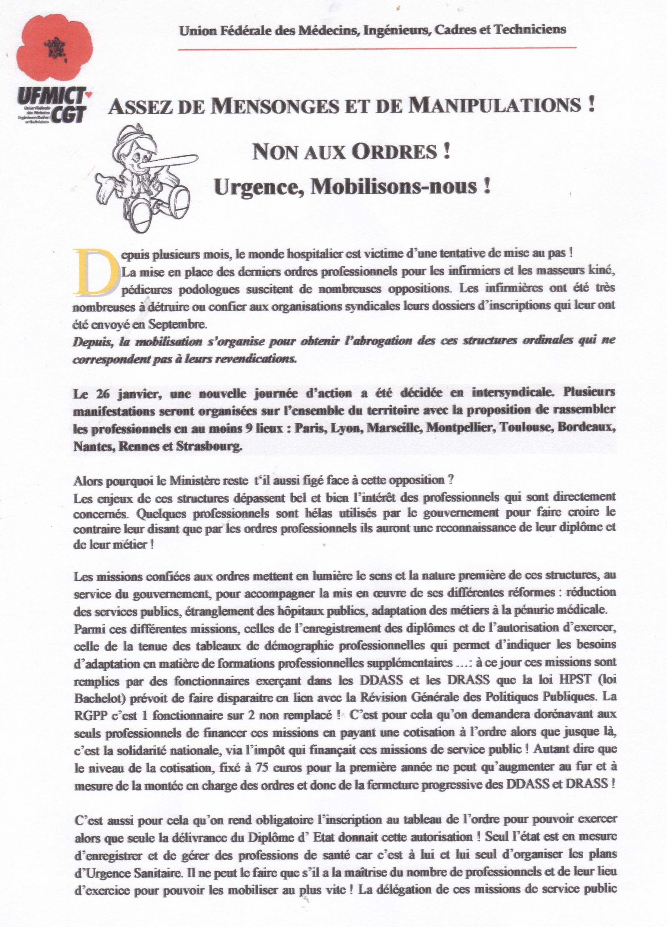 Non A L Ordre Infirmier Archive At Syndicats Cgt C H Thuir 66300